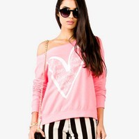 Off-The-Shoulder Heart Pullover