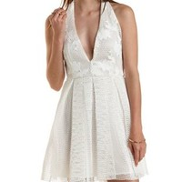 White Faux Leather & Mesh Halter Dress