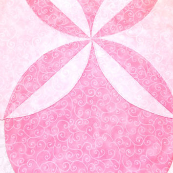 Shabby Chic Table Topper Runner Centerpiece Quilt in Pink and White