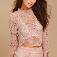 Bring Me Back Mauve Lace long Sleeve Crop Top