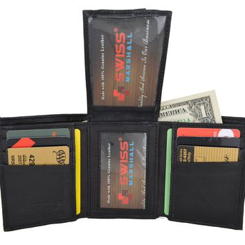Swiss Marshal Men's Premium Leather Trifold Center Flap Up ID Credit Card Holder Wallet SW-P1755