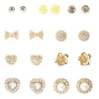 Rhinestone & Rosette Stud Earrings - 9 Pack by Charlotte Russe - Gold