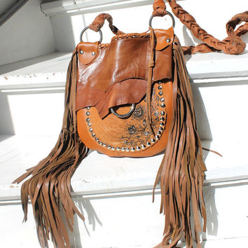 FRinge orange brown leather bohemian bag leather satchel wallet purse handpainted floral pattern small purse festival tribal concert bag