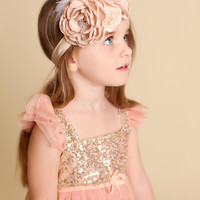 Tea Stain Mocha & Buttercream Clustered Layered Flowers, Feathers, & Pearls Headband
