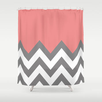 CORAL COLORBLOCK CHEVRON Shower Curtain by n a t a l i e