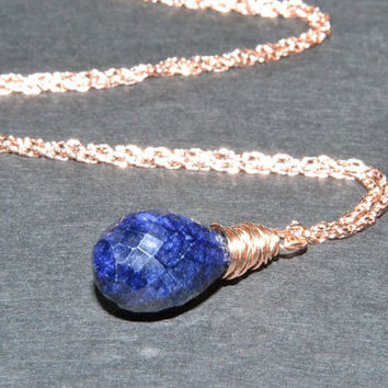 Blue Sapphire Necklace, Rose Gold Jewelry, Handmade, AAA Gemstone