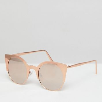 ASOS Half Kitten Cat Eye Metal Sunglasses With Rose Gold Flash Lens at asos.com