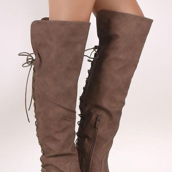 Back Corset Lace-Up OTK Riding Boots