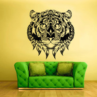 Wall Vinyl Sticker Decals Decor Art Bedroom Tiger Leopard Lion Animal Wild Cat Head Detailed Feathers Ethnic (z2413)