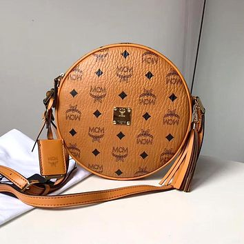 MCM tide brand female classic print tassel round cake bag shoulder slung portable small round bag