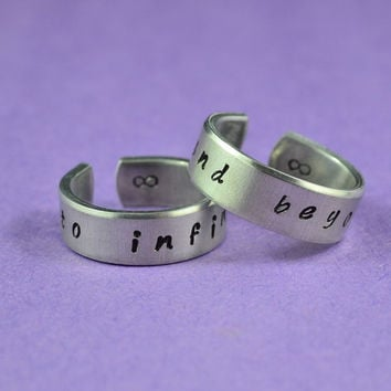 to infinity and beyond - Hand Stamped, Couples, Best Friends, Shiny, Skinny, Pure Aluminum, Handwritten Font