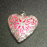 Pink Glowing Necklace , Pink Heart Glow In The Dark Necklace , Glowing Locket , Breast Cancer Necklace , Envious Heart