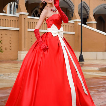 Don's Bridal Prom Dress Strapless Neck Sashes With Bow Not Train Satin Sleeveless Ball Gown Party Dresses 2016