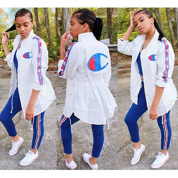 Champion Summer Hot Sale Women Jacket Coat Sun-Protective Windbreaker White