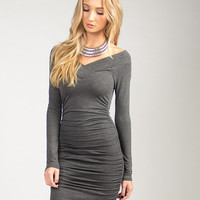 Fitted Bodycon Long Sleeve Dress - Charcoal