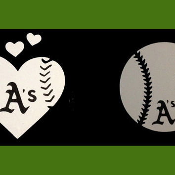 His & Hers Oakland A's Baseball and Baseball Heart vinyl car decal - Small