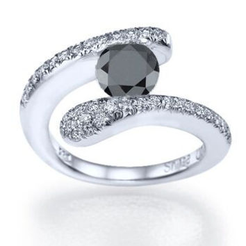 Black Diamond Tension Set Round Diamond Engagement Ring