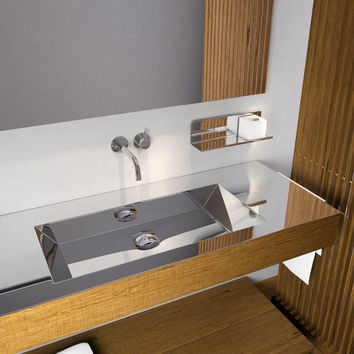 "Novanta 51"" Wall Bath Vanity With Rectangular Sink, Steel top and Oak Solid Wood - Shelf Underneath Included"