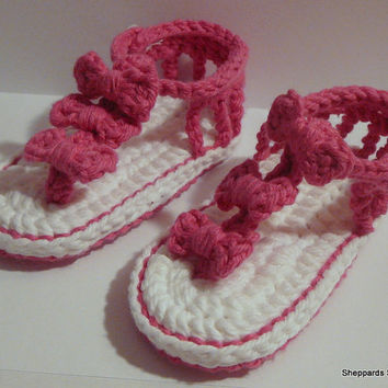 Baby Sandals - Pink and White Flip Flops - 6-12 Months