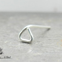 3mm Sterling silver tiny open triangle nose earring.  Small triangle piercing stud. Cartilage triangle. Rook earring.Nose piercing.