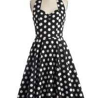 Mid-length Halter Fit & Flare Like, Oh My Dot! Dress in Black