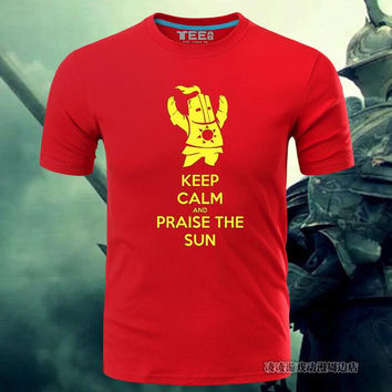 Hot New Dark Souls III 3 Praise The Sun Steel Cotton T-shirt Game Animation Tees Digital Direct Injection Ventilation