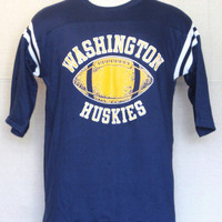 Vintage Deadstock 70s WASHINGTON HUSKIES RAGLAN  Navy Blue College Sports Football Graphic Small Medium Jersey Style Cotton T-Shirt