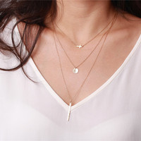 Tiny sideways cross pendant - sterling silver or 14k gold filled necklace  - layering jewelry
