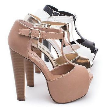 Brina21 By Breckelle's, Peep Toe T-Strap Platform Chunky Heel Pumps