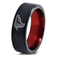 Atlanta Falcons Black and Red Tungsten Ring
