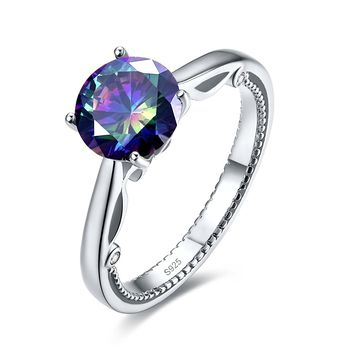 Merthus 3ct Mystic Rainbow Topaz Solitaire Engagement Ring 925 Sterling Silver