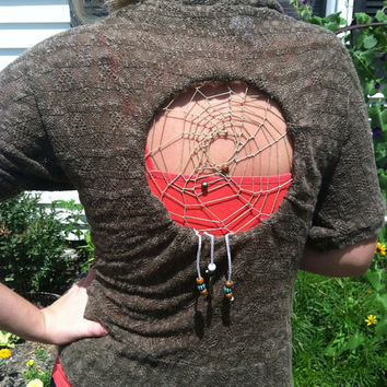 Leafy Dreamcatcher tunic by Handspunhomegoods on Etsy