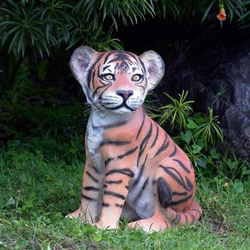 SheilaShrubs.com: The Grand-Scale Wildlife Animal Collection - Sitting Bengal Tiger Cub Statue NE80149 by Design Toscano: Garden Sculptures & Statues