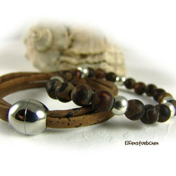 Women's bracelet set cork brown stainless steel silver - agate brown Zamac stretch - for her