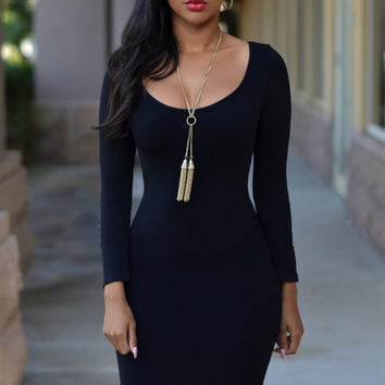 Black Scoop Neck Long Sleeves Bodycon Midi Dress