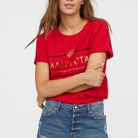 T-shirt with Motif - Red - Ladies | H&M US