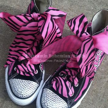 Painted Converse High Tops HOT Pink and Black Diva Personalized with Mega BLING CHUCKS
