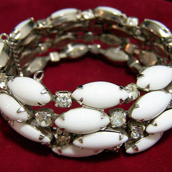 Kramer Milk Glass Crystal Rhinestone Bracelet, Vintage Bridal Jewelry, Mid Century Wedding Jewelry, 7 Inches Long 817