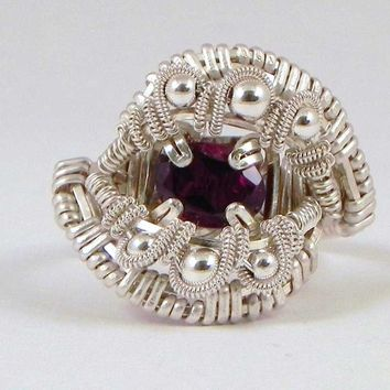 Garnet Ring Sterling Silver Wire Wrapped