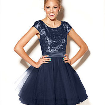 Trixxi Juniors Dress, Cap Sleeve Sequin Tulle - Juniors Homecoming Dresses - Macy's
