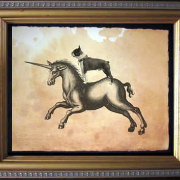 Boston Terrier Riding Unicorn - Vintage Collage Art Print on Tea Stained Paper - Vintage Art Print