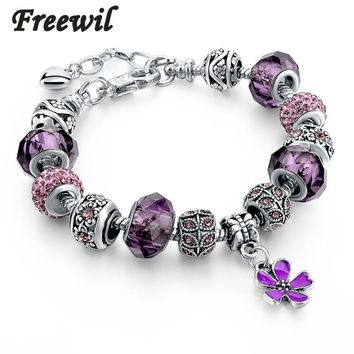 2017 Silver Charm Bracelets Christmas gift For Women With Crystal Beads Bracelets & Bangles Pulseras DIY Jewelry SBR160037