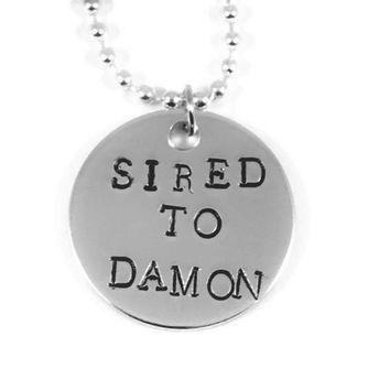 The Vampire Diaries Sired To Damon Hand Stamped Aluminum Necklace