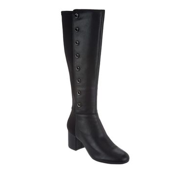 Isaac Mizrahi Live! Women's Black Leather Studded Tall Boots