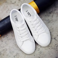 Lace-up white shoes 2018 new spring tenis feminino shoes  woman PU Leather solid color female shoes casual women shoes sneakers
