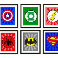 Super hero art,wall art, boys room decor, Spider-Man, superman, batman, flash, Captain America, Green lantern, Superheroes - painted texture