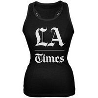 Los Angeles Times Stacked Logo Black Juniors Soft Tank Top
