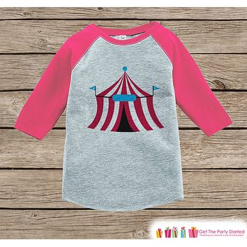 Circus Birthday Outfit - Kids Circus Tent Shirt or Onepiece - Baby Girl, Youth, Toddler, Birthday Outfit - Pink Baseball Tee - Carnival