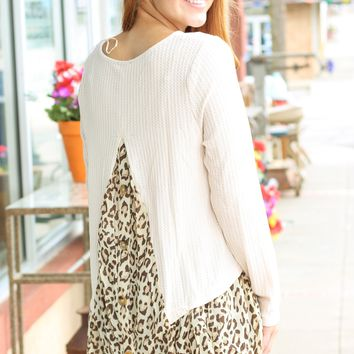 Cream Layered Leopard Button Back Top