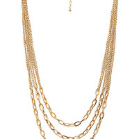 FOREVER 21 Layered Chain Necklace Gold One